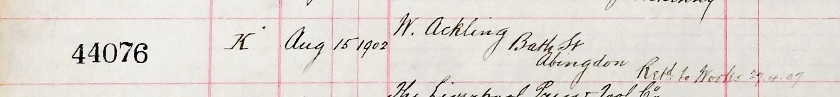 This entry in the ledger of the engine-building firm of Crossley Brothers Ltd