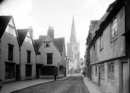 St Helen's Church and the south end of East St Helen Street in 1882. No. 55 is on the right
