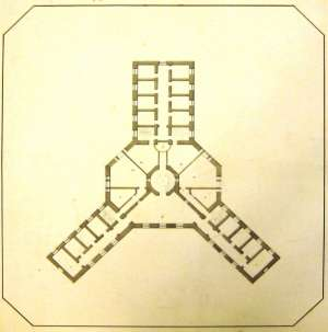 The Old Gaol –architect's drawing, 1804, showing the three-wing radial design