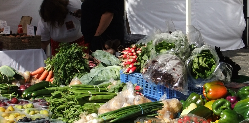 colourful vegetables on a market stall