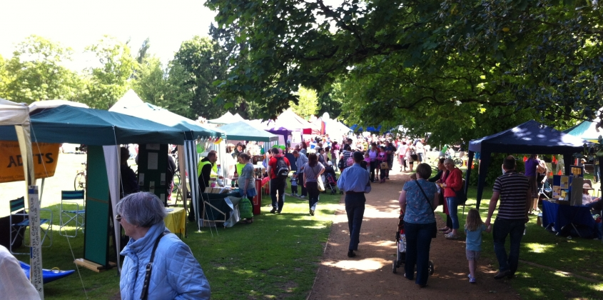 Crowds of people looking at the stalls and walking through the park