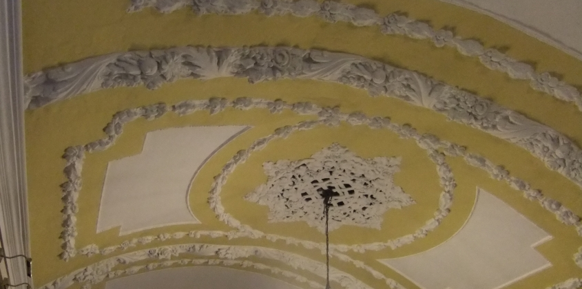 Beautiful plasterwork ceilings in the historic rooms of the Guildhall