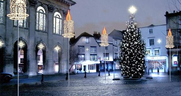 The Market Place and County Hall Christmas lights