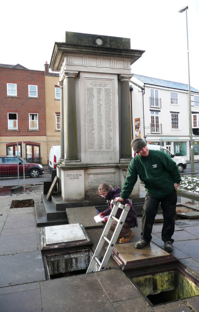 The location of the artesian well, today behind the War Memorial where the stand pipe had been.