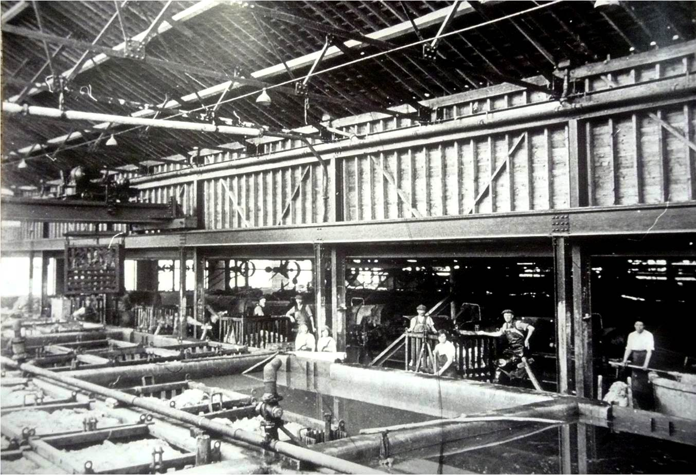 A view of Pavlova leather factory. The problems with their waste disposal continued and in the 1950s, lagoons were built outside the town to help accommodate this.