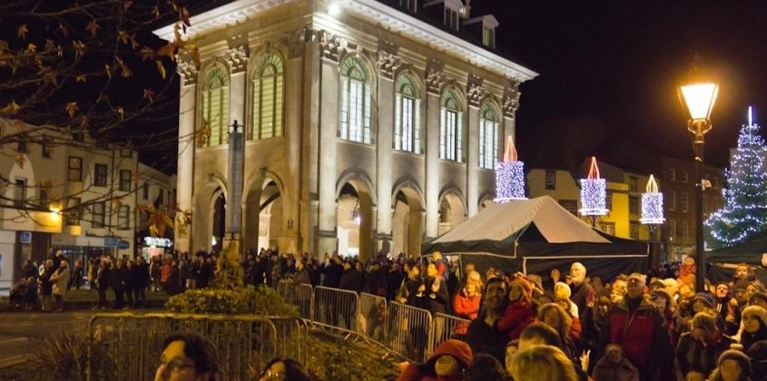 Market Place crowds enjoying the fireworks on Saturday night