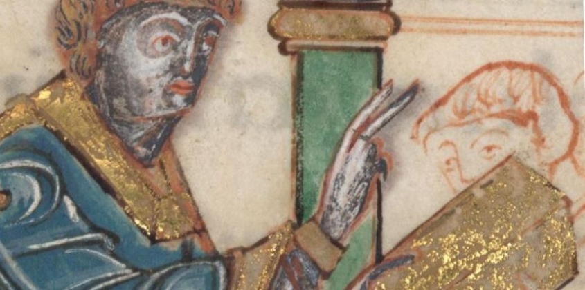 A Bishop, believed to be Aethelwold, giving a blessing
