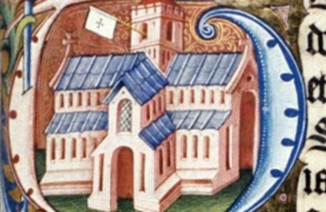 Detail from the Abingdon Missal of 1461. Picture of a church.
