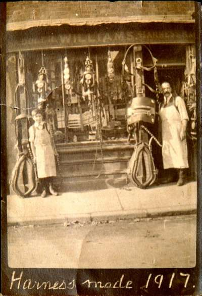 Ron Williams and his father in 1917outside the saddlery shop at 18 Stert Street