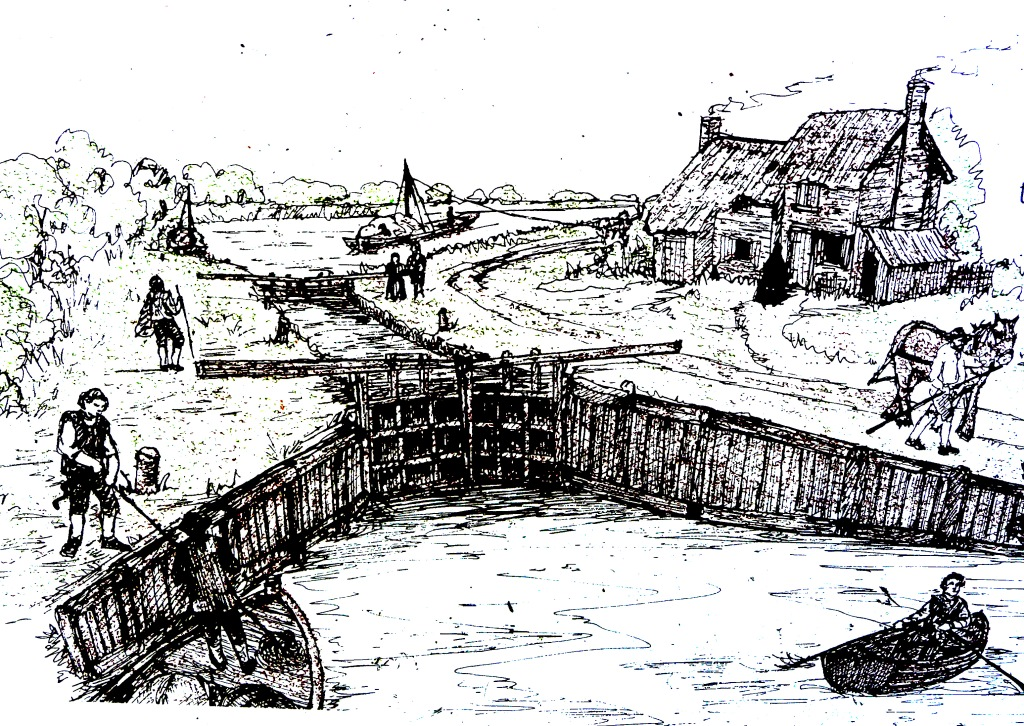 An artist's impression of the Swift Ditch lock and the Waterturnpike House