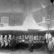 James Williams jnr (in bowler hat) outside his butchery about 1890