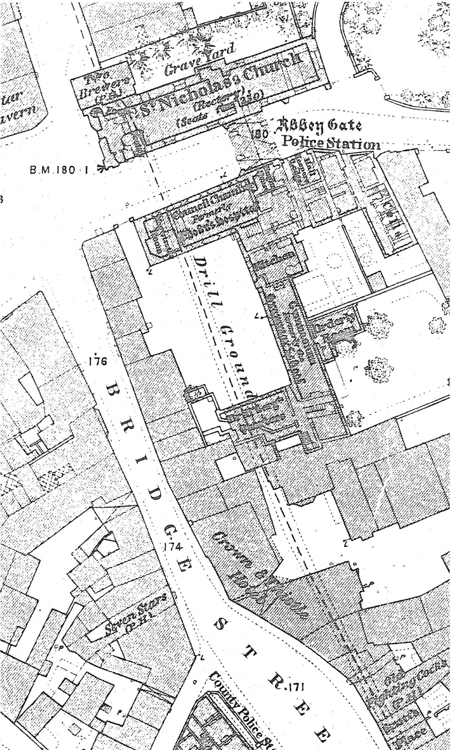 Figure 2 (right) Extract from 1:500 First Edition Ordnance Survey map (1874). The dashed line shows the course of the Stert culvert. (With thanks to Oxfordshire Library Services)