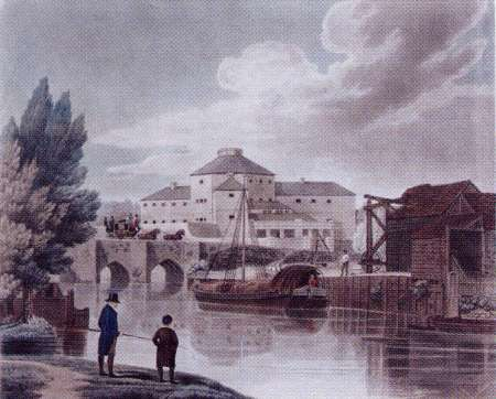 View of the New Prison at Abingdon, Berks. H. Meyer after William Watkin Waite. Coloured Aquatint.