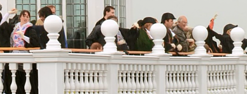 Councillors throwing Buns from the County Hall rooftop in 2012