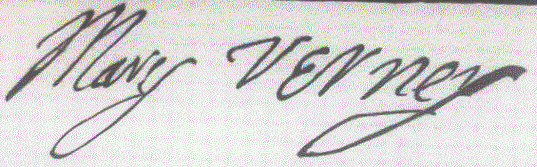 Mary Verney's signature (from the earliest printing of Lady Verney's 'Memoirs', 1892).