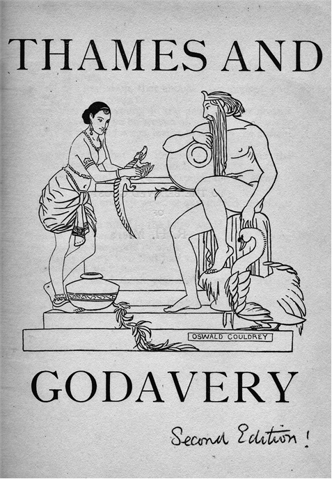 Fig 4. Cover illustration and Frontispiece, Thames and Godavery (First and second editions, Oxford 1921)