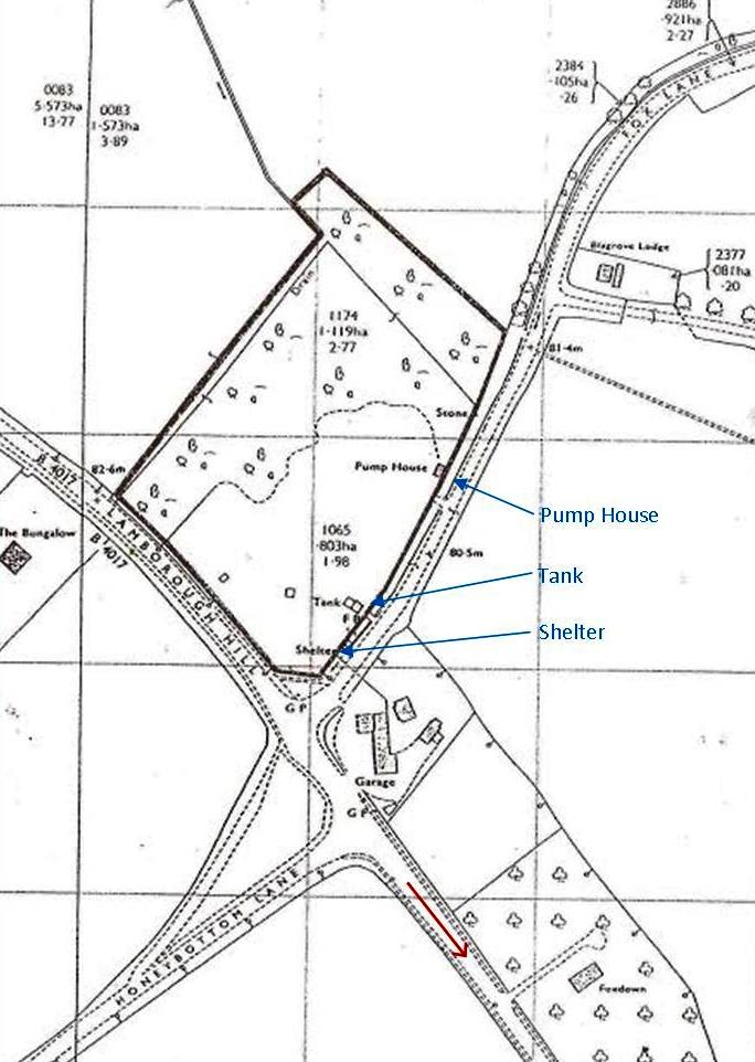 Map drawn by Thames Water showing the waterworks field in about 1990.