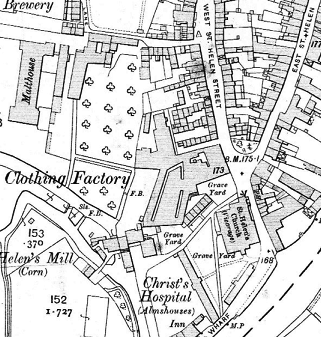 Extract of the 1912 25-inch OS map showingthe clothing factory next to St Helen's churchyard and opposite the junction of East and West St Helen Streets.