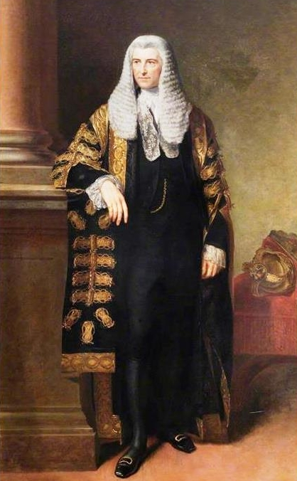 Frederick Thesiger, 1st Baron Chelmsford, in 1859 in his robes as Lord Chancellor. The portrait is by EU Eddis and hangs in the Guildhall in Abingdon, Oxfordshire.