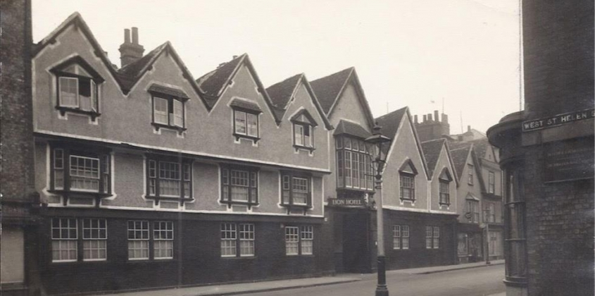 The seven gables of the former Lion Hotel on the north side of the High Street. in Abingdon, Oxfordshire