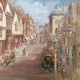 Painting of the former Lion Hotel on High Street Abingdon, Oxfordshire, in 1931