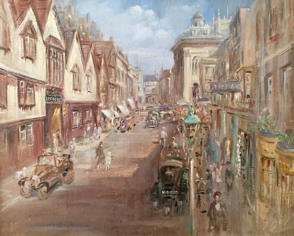 Oil painting of the former Lion Hotel in 1931.