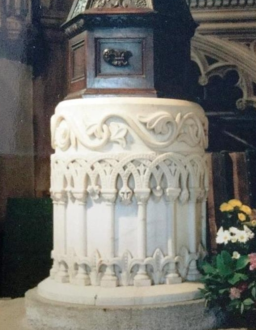 The font in St Helen's Church, Abingdon  It was carved by HP Peyman and exhibited in the 1851 Great Exhibition