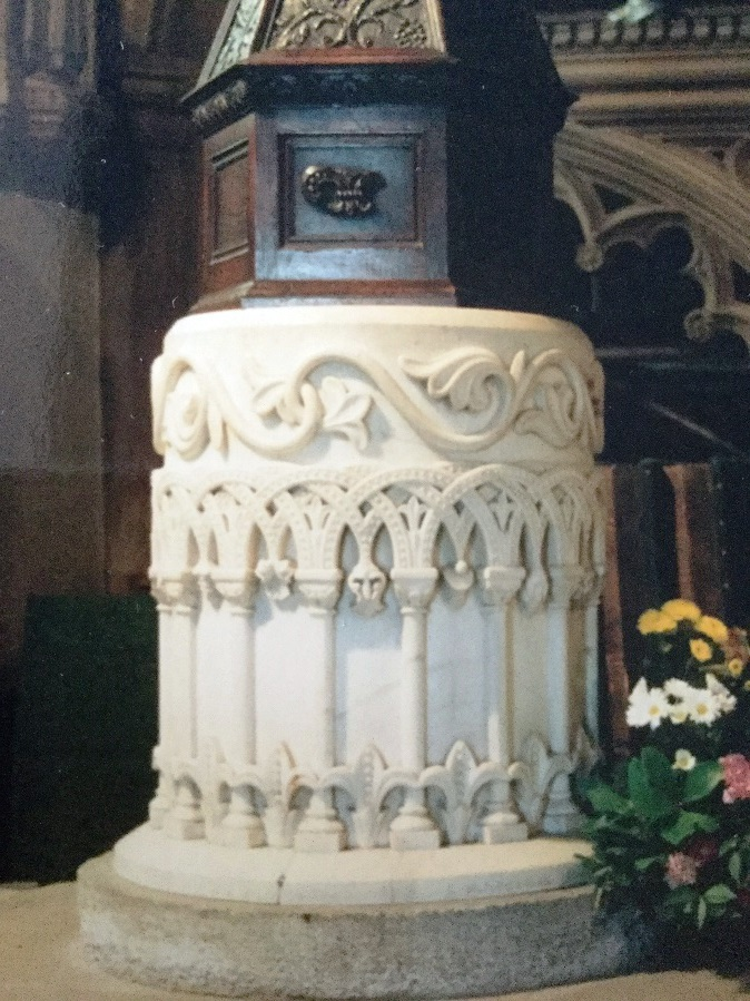 The font in St Helen's Church