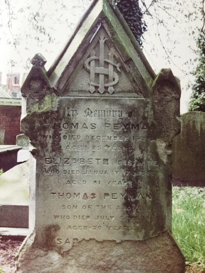The headstone in St Helen's churchyard