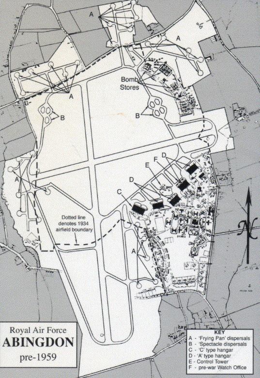 The Abingdon Airfield as it was before 1959.The main N-S runway is about 2000m long