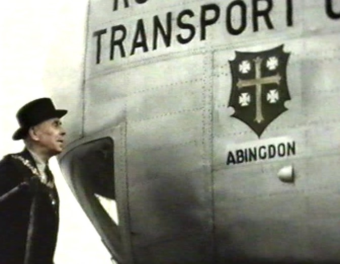 Mayor Clement Barber in 1958 names a Beverley aircraft after the town.