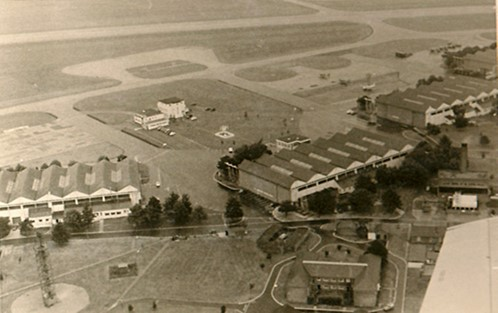 Abingdon Airfield in about 1972 with the parachute training tower at the bottom left.