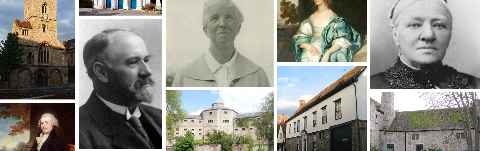 photo montage of various historical buildings and people from Abingdon