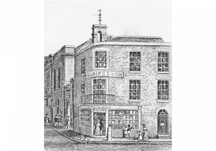Richard Parsons' bookshop and reading room at 1 Bridge Street before about 1852.