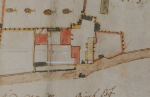 Figure 9 Buildings on 1762 estate map – reoriented with Caldecott road across the foot