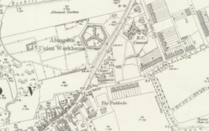 Plan of Abingdon workhouse The workhouse was on the Oxford Road just north of the junction with the Radley Road. Extract from the OS 1910 25-inch map. Reproduced with the permission of the National Library of Scotland. Creative Commons Attribution (CC-BY) licence